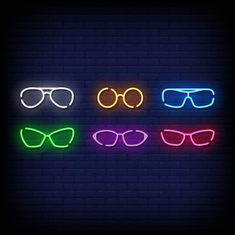 Estilo de sinais de néon de símbolo de óculos