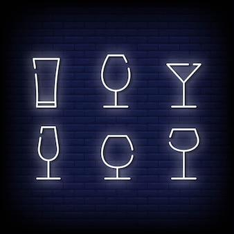 Estilo de sinais de néon de símbolo de vidro
