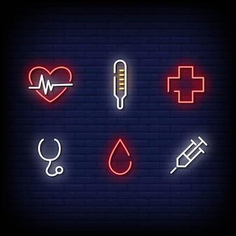 Estilo de sinais de néon de símbolo médico