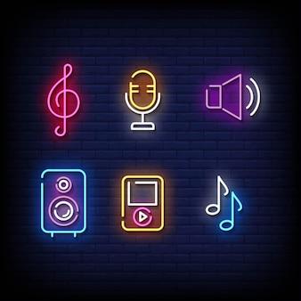 Estilo de sinais de néon de símbolo musical