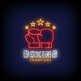 Estilo de sinais de néon dos campeões de boxe
