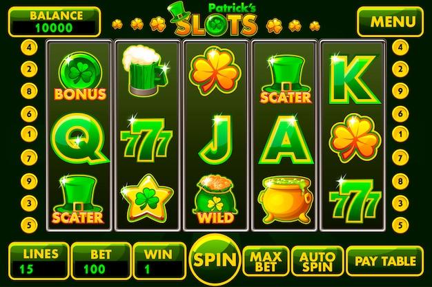 Estilo de slot machine de interface de vetor st.patrick s em verde colorido.