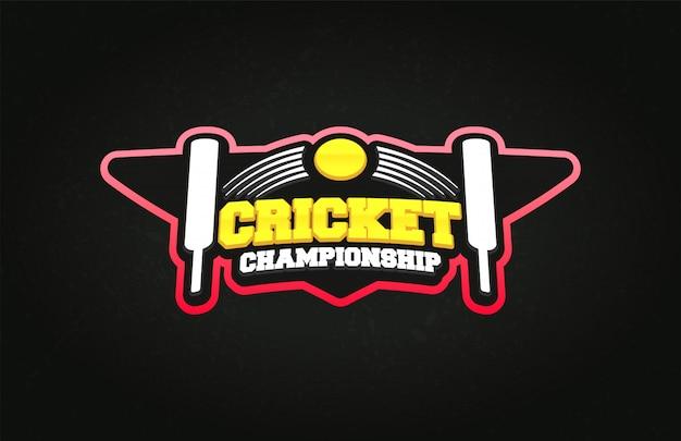 Estilo de super herói de esporte de críquete tipografia