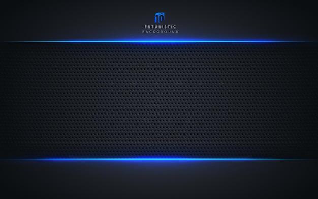 Estilo de tecnologia de modelo abstrato. moldura azul metálico cor preta
