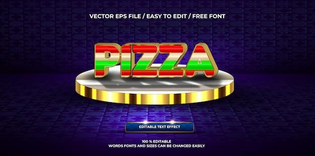 Estilo de texto 3d de pizza de efeito de texto editável de luxo