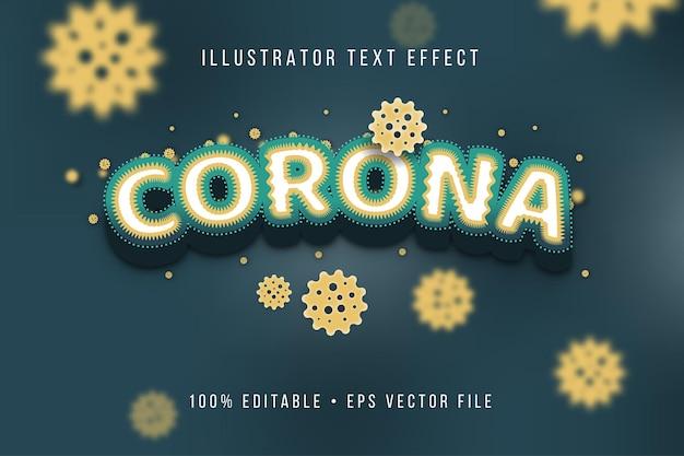 Estilo de texto 3d do vírus corona verde