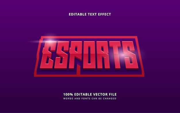 Estilo de texto 3d e-sport com palavras e fontes editáveis