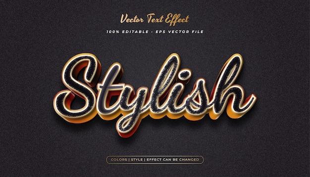 Estilo de texto 3d elegante com efeito em relevo e texturizado no conceito preto e dourado
