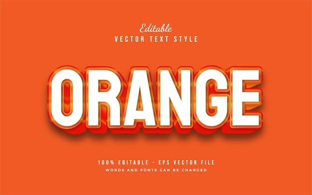 Estilo de texto 3d laranja em negrito com efeito em relevo. efeito de estilo de texto editável