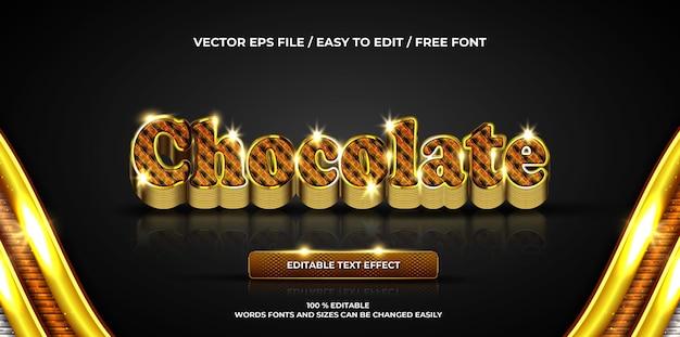 Estilo de texto 3d luxuoso com efeito de texto editável chocolate ouro