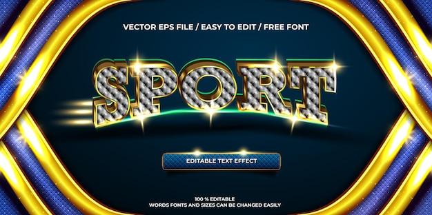 Estilo de texto 3d luxuoso com efeito de texto editável esporte ouro
