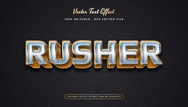 Estilo de texto 3d metálico em negrito com efeito em relevo e texturizado no conceito de metal e ouro