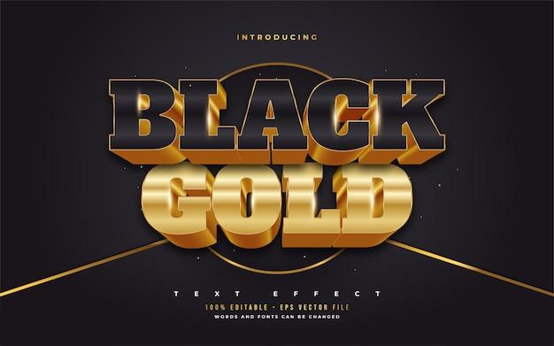 Estilo de texto 3d preto e dourado com efeito em relevo. efeitos de estilo de texto editáveis