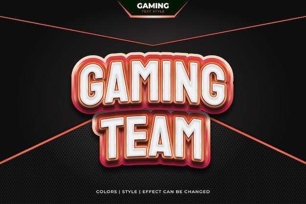 Estilo de texto 3d vermelho com efeito em relevo para a identidade da equipe de jogos ou logotipo de e-sports