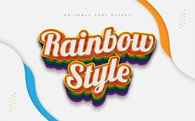 Estilo de texto arco-íris colorido com efeito em relevo e ondulado. efeito de estilo de texto editável
