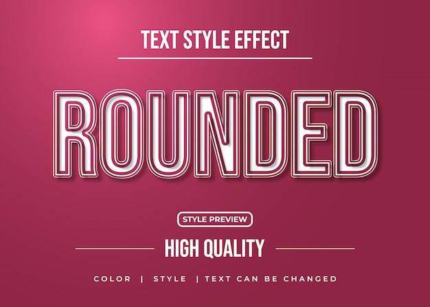 Estilo de texto arredondado com efeito realista e linhas brancas