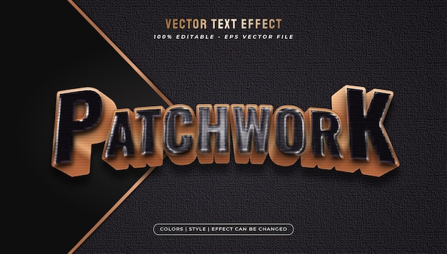 Estilo de texto arrojado e elegante com efeito patchwork e filme plástico em preto e dourado.