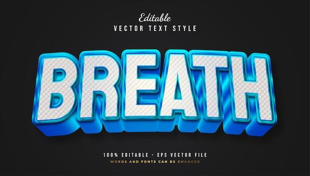 Estilo de texto bold breath em branco e verde com textura e efeito em relevo