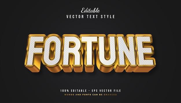 Estilo de texto bold fortune em branco e dourado com efeito texturizado e em relevo