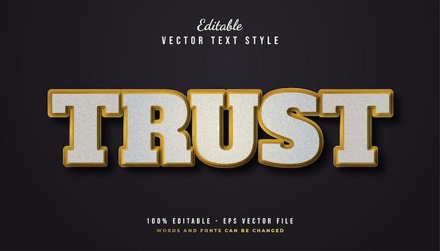 Estilo de texto bold trust em branco e dourado com efeito de textura