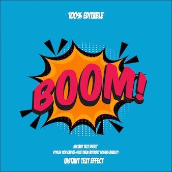 Estilo de texto boom, efeito de fonte editável Vetor Premium