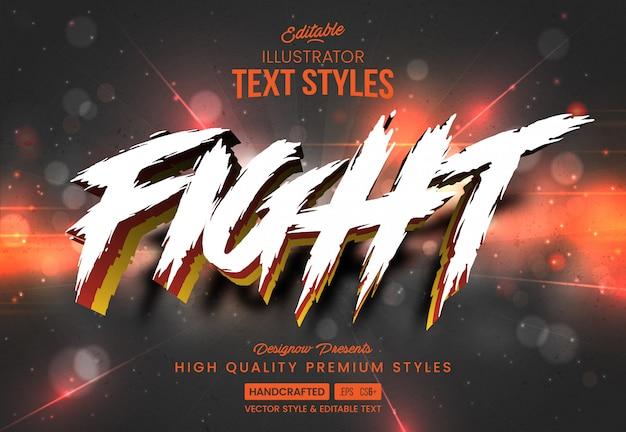 Estilo de texto branco de jogo de luta