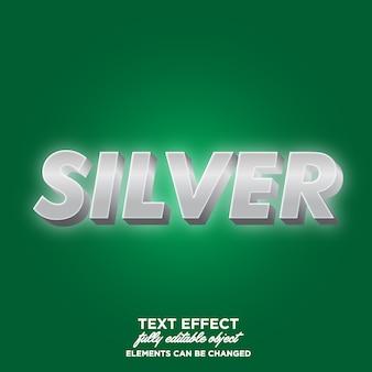 Estilo de texto brilhante prata 3d brilhante
