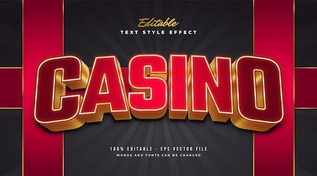 Estilo de texto casino vermelho e dourado com efeito curvo e em relevo. efeito de estilo de texto editável