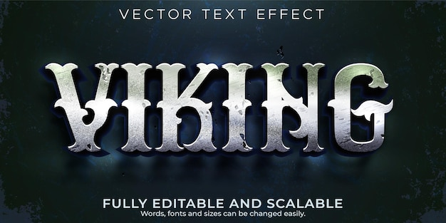 Estilo de texto celta e medieval editável com efeito de texto nórdico viking