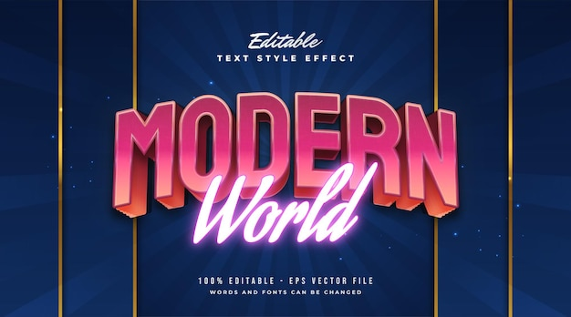 Estilo de texto colorido do mundo moderno com efeito em relevo e néon. efeito de estilo de texto editável