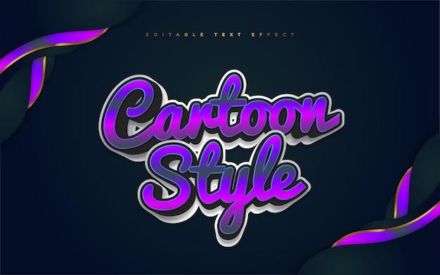 Estilo de texto colorido dos desenhos animados com efeito 3d. efeito de estilo de texto editável