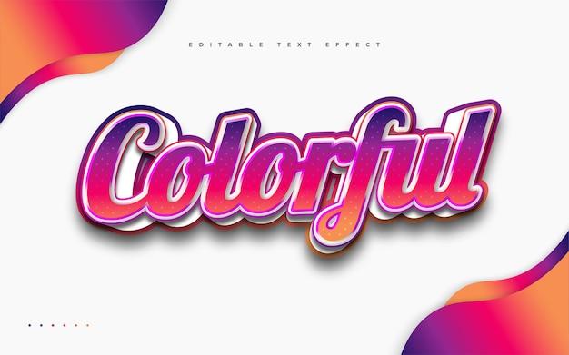 Estilo de texto colorido em negrito com efeito em relevo. efeito de estilo de texto editável