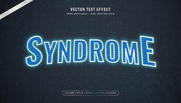 Estilo de texto com luzes de néon azul com textura de parede e efeito brilhante