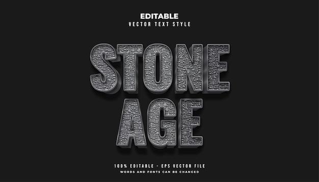Estilo de texto da idade da pedra na cor cinza com efeito de textura de rocha áspera Vetor Premium