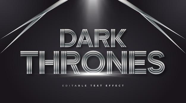 Estilo de texto dark thrones com efeito de ferro e metal. efeito de estilo de texto editável