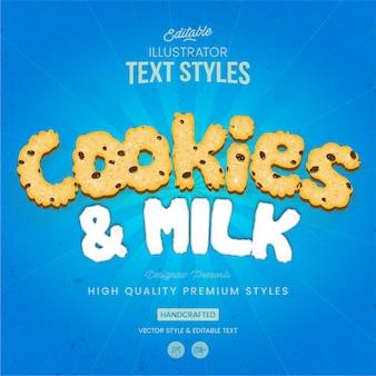 Estilo de texto de biscoitos e leite