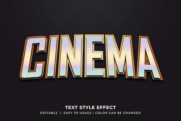 Estilo de texto de cinema com efeito metálico