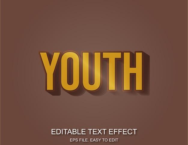 Estilo de texto de efeito plástico retrô de juventude