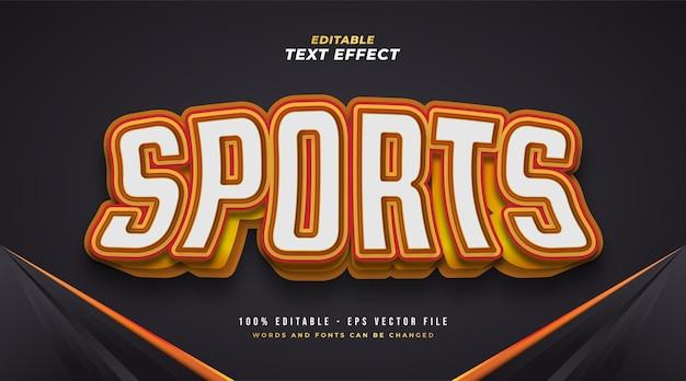 Estilo de texto de esportes em negrito em branco e laranja com efeito 3d. efeito de texto editável