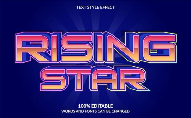 Estilo de texto de estrela em ascensão com efeito de texto editável