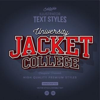 Estilo de texto de jaqueta de faculdade de esportes