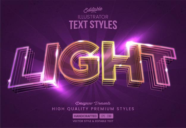 Estilo de texto de luzes de néon