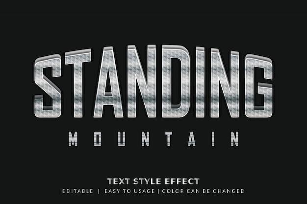 Estilo de texto de metal forte com efeito de textura 3d