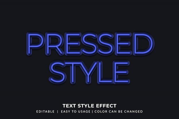 Estilo de texto de néon pressionado com efeito brilhante