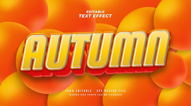 Estilo de texto de outono em negrito em gradiente laranja com efeito 3d. efeito de texto editável