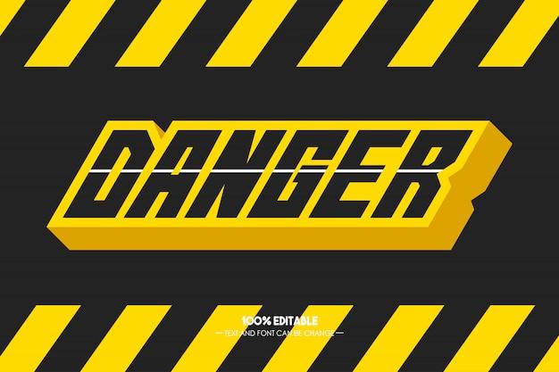 Estilo de texto de perigo 3d