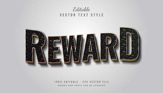 Estilo de texto de recompensa em negrito em preto e dourado com textura e efeito ondulado