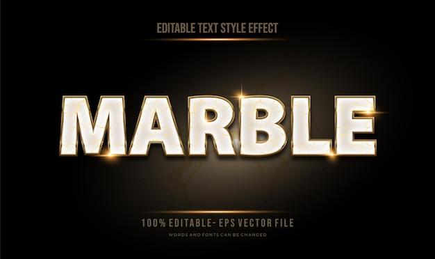 Estilo de texto de textura de mármore editável moderno efeito de ouro e brilho brilhante. estilo de fonte editável.