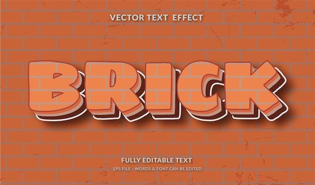 Estilo de texto de tijolo com efeito de texto editável de fundo de parede de tijolo