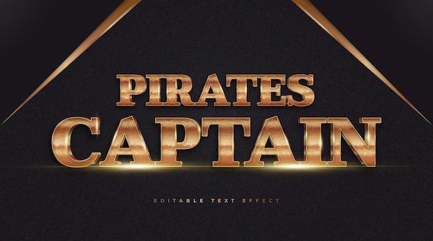 Estilo de texto do capitão piratas em efeito de ouro de luxo. efeito de estilo de texto editável